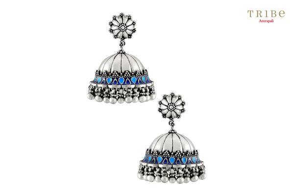 Shop Silver Oxidized Floral Blue Enamel Rawa Dome Jhumka Earrings online in USA by Amrapali. Adorn your Indian traditional look with an exquisite range of Indian silver gold plated jewelry available at Pure Elegance fashion store in USA or shop online. -full view
