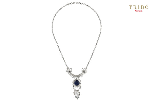 Shop online Silver Lapis Floral Bar Drop Filigree Necklace in USA by Amrapali. Adorn your Indian traditional look with an exquisite range of Indian silver gold plated jewelry available at Pure Elegance fashion store in USA or shop online. -full view