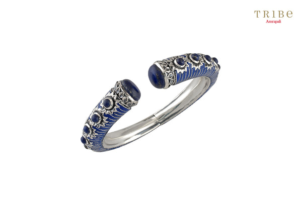 Shop online Silver Enameled Lapis Flower Bangles in USA by Amrapali. Adorn your Indian traditional look with an exquisite range of Indian silver gold plated jewelry available at Pure Elegance fashion store in USA or shop online. -full view