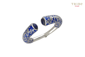 Shop online Silver Navy Enamel Leafy Lapis Bangle in USA by Amrapali. Adorn your Indian traditional look with an exquisite range of Indian silver gold plated jewelry available at Pure Elegance fashion store in USA or shop online. -full view