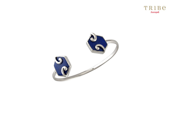 Shop online Silver Hexagon Motif Lapis Bracelet in USA by Amrapali. Adorn your Indian traditional look with an exquisite range of Indian silver gold plated jewelry available at Pure Elegance fashion store in USA or shop online. -full view