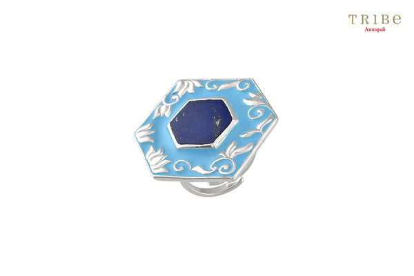 Buy Silver Enameled Hexagon Lapis Ring online in USA by Amrapali. Adorn your Indian traditional look with an exquisite range of Indian silver gold plated jewelry available at Pure Elegance fashion store in USA or shop online. -full view