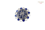 Buy Silver Enameled Lapis Flower Cutout Round Ring online in USA by Amrapali. Adorn your Indian traditional look with an exquisite range of Indian silver gold plated jewelry available at Pure Elegance fashion store in USA or shop online. -full view