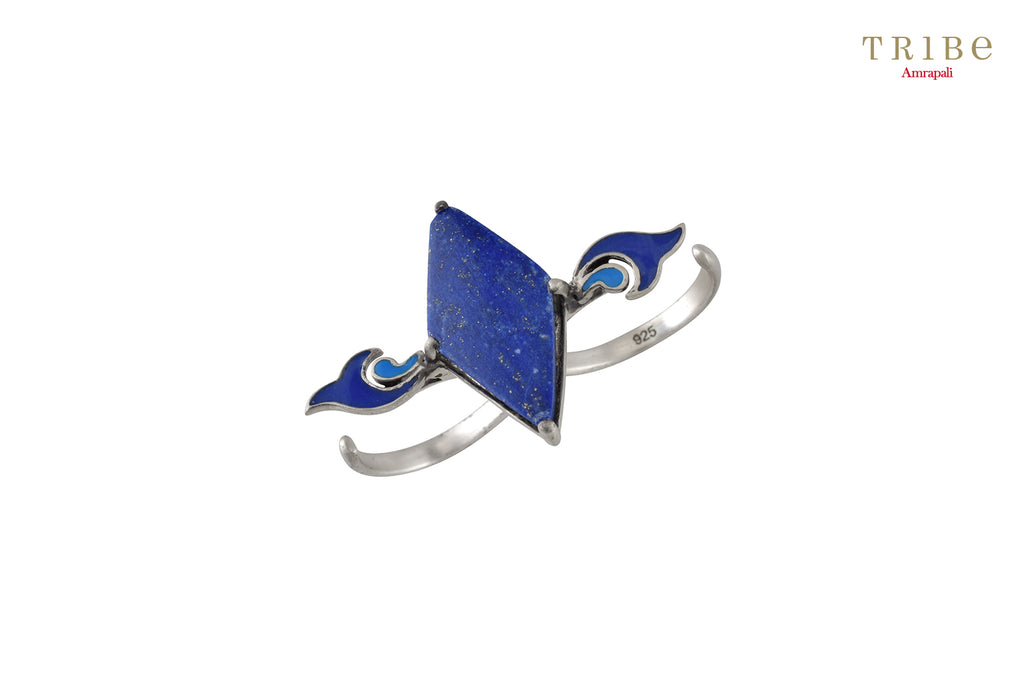 Shop online Silver Lapis Enameled Rhomb Paisley Ring in USA by Amrapali. Adorn your Indian traditional look with an exquisite range of Indian silver gold plated jewelry available at Pure Elegance fashion store in USA or shop online. -full view