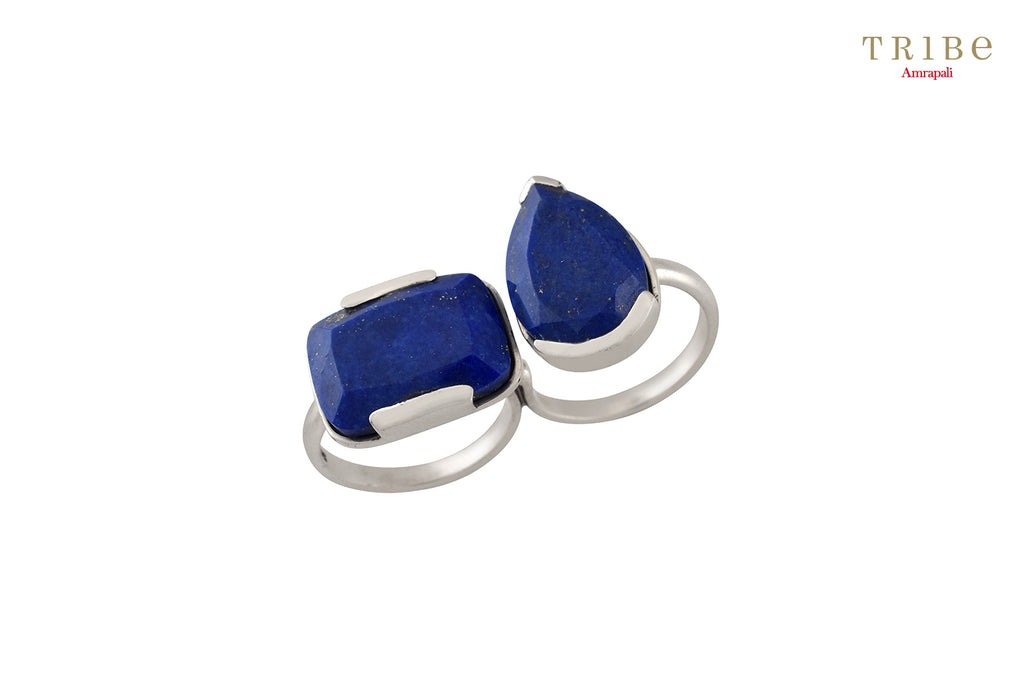 Shop online Silver Pear Cushion Lapis Ring in USA by Amrapali. Adorn your Indian traditional look with an exquisite range of Indian silver gold plated jewelry available at Pure Elegance fashion store in USA or shop online. -full view