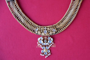 Buy silver gold plated chain design Amrapali necklace online in USA with glass pendant. Add spark to your ethnic attires with beautiful Indian jewelry, wedding jewelry, silver gold plated necklaces from Pure Elegance Indian fashion store in USA.-flatlay