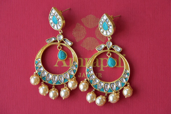 Buy Amrapali silver gold plated glass chandbali online in USA with pearl drops. Find an exquisite collection of handcrafted silver gold plated jewelry in USA at Pure Elegance Indian fashion store. Complete your festive look with traditional Indian jewellery, silver gold plated earrings, silver jewellery from our online store.-flatlay