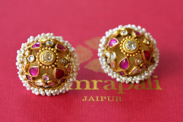 Shop Amrapali silver gold plated glass stud earrings online in USA with pearls piroyi. Find an exquisite collection of handcrafted silver gold plated jewelry in USA at Pure Elegance Indian fashion store. Complete your festive look with traditional Indian jewellery, silver gold plated earrings, silver jewellery from our online store.-flatlay