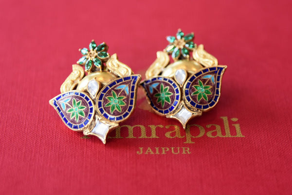 Shop beautiful silver gold plated Amrapali enamel stud earrings online in USA from Pure Elegance. Complete your traditional look with an exquisite collection of Indian silver gold plated jewelry, wedding jewellery, silver gold plated earrings and much more from our Indian fashion store in USA. -flatlay