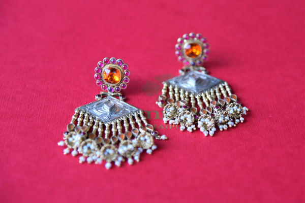 Shop colored glass silver earrings by Amrapali online in USA with pearl beads. Get festival ready with a range of exquisite handcrafted Indian silver gold plated jewelry from Pure Elegance Indian clothing store in USA.-flatlay
