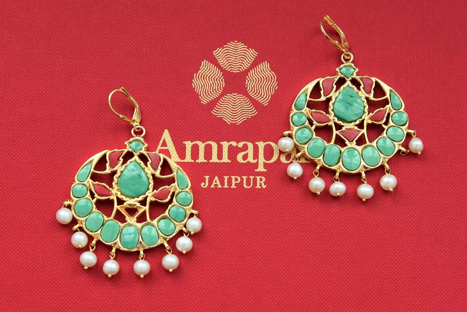 20B947 Red and Green Stone Silver Gold Plated Earrings with Pearls