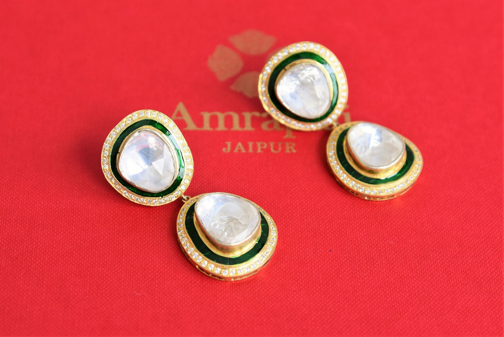 20B956 Silver Gold Plated White Glass Classic Earrings