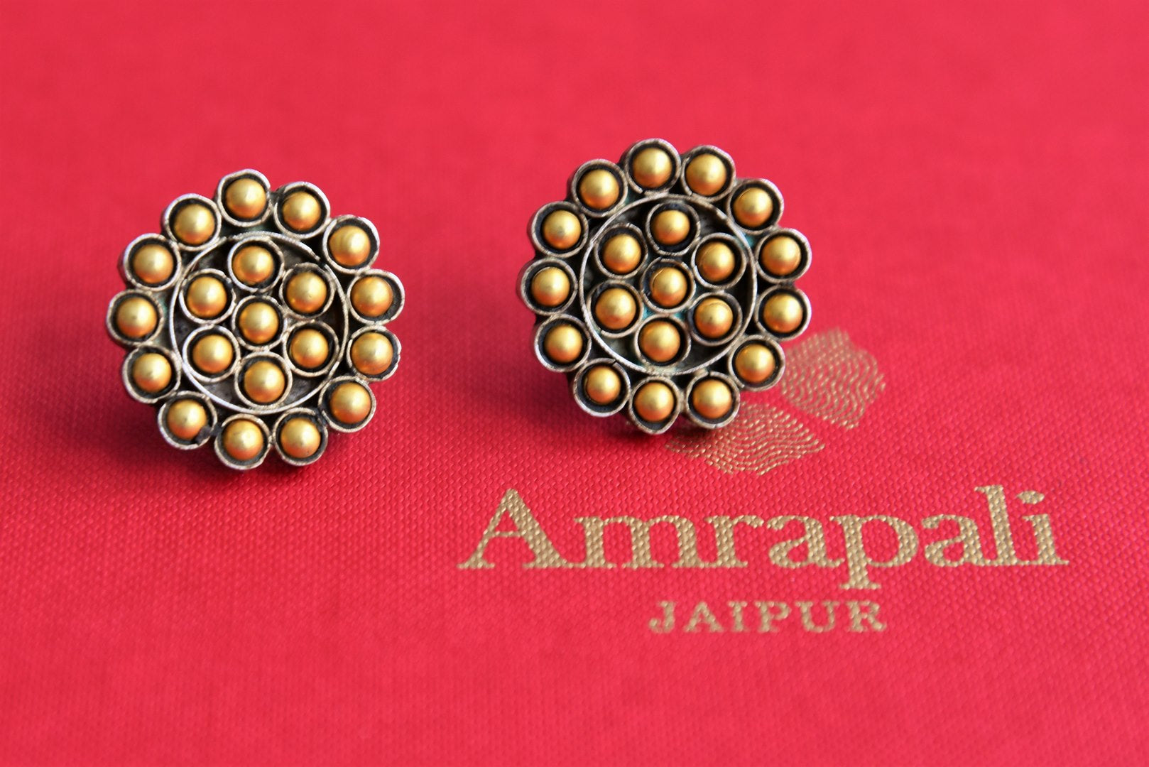 20B967 Silver Gold Plated Beaded Studs