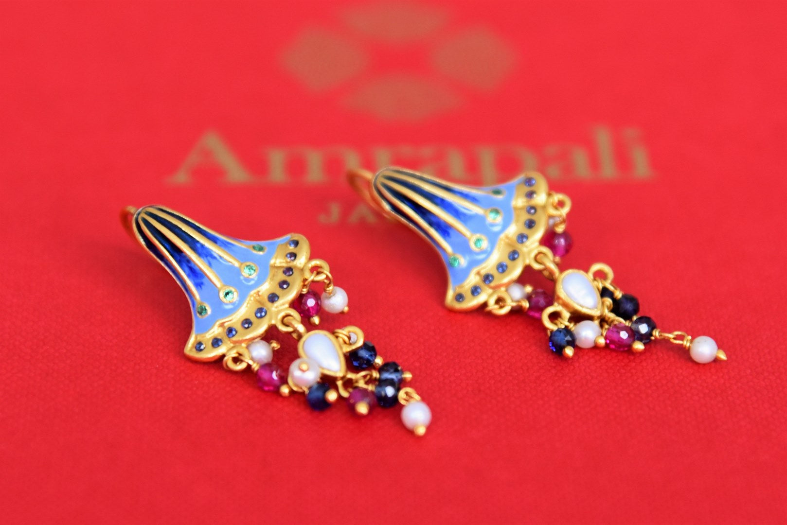 20B969 Silver Gold Plated Enamel Earrings with Blue Bell Design