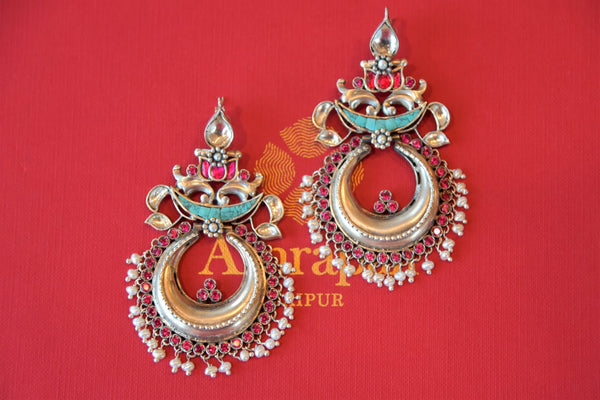 Shop Amrapali ethnic glass silver earrings with pearl beads online in USA from Pure Elegance. Complete your traditional look with an exquisite collection of Indian silver gold plated jewelry, wedding jewelry, silver gold plated earrings and much more from our Indian fashion store in USA. -flatlay
