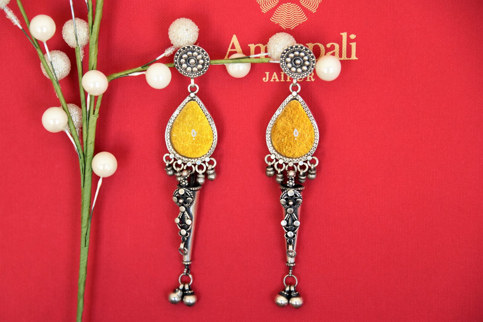20B980 Tribal Silver Earrings with Yellow Glass