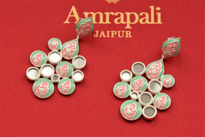 Buy green and pink enamel and mirror silver earrings online in USA. Find an exquisite collection of handcrafted Indian jewellery in USA at Pure Elegance Indian fashion store. Complete your festive look with beautiful silver gold plated necklaces, silver gold plated earrings, silver jewelry from our online store.-flatlay