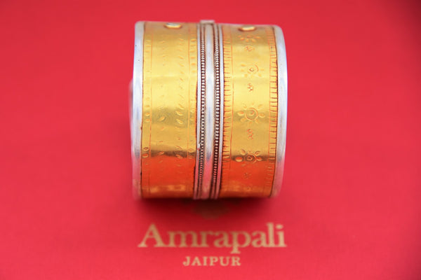 Shop handcrafted Amrapali silver gold plated engraved cuff bracelet online in USA. Find an exquisite collection of handcrafted Indian jewelry in USA at Pure Elegance Indian fashion store. Complete your festive look with beautiful silver gold plated necklaces, silver gold plated earrings, silver gold plated jewelry from our online store.-front
