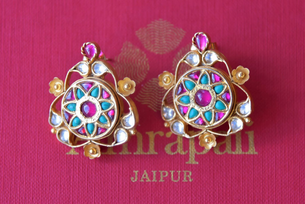 Buy Amrapali silver gold plated pink and white glass earrings with turquoise online in USA. Find an exquisite collection of handcrafted silver gold plated jewelry in USA at Pure Elegance Indian fashion store. Complete your festive look with traditional Indian jewellery, silver gold plated earrings, silver jewelry from our online store.-flatlay