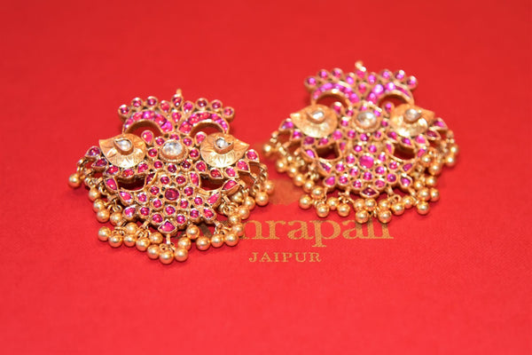 Buy Amrapali silver gold plated pink glass earrings with gold beads online in USA from Pure Elegance. Complete your traditional look with an exquisite collection of Indian silver gold plated jewelry, silver jewelry, silver gold plated earrings and much more from our Indian fashion store in USA. -flatlay