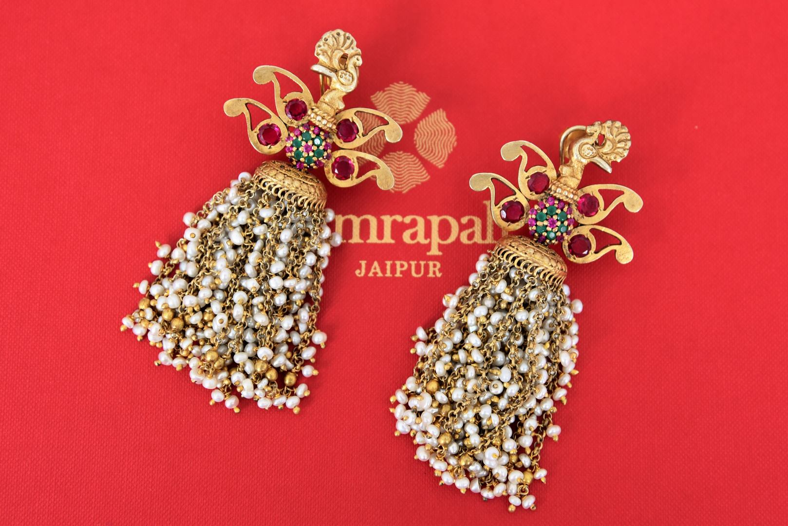 20C018 Silver Gold Plated Glass Peacock Earrings with Pearl Tassels