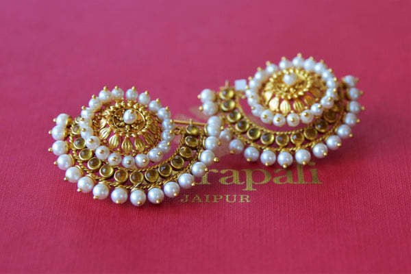 Shop Amrapali silver gold plated crescent shape earrings with pearls online in USA. Find an exquisite collection of handcrafted silver gold plated jewelry in USA at Pure Elegance Indian fashion store. Complete your festive look with traditional Indian jewellery, silver gold plated earrings, silver jewelry from our online store.-side