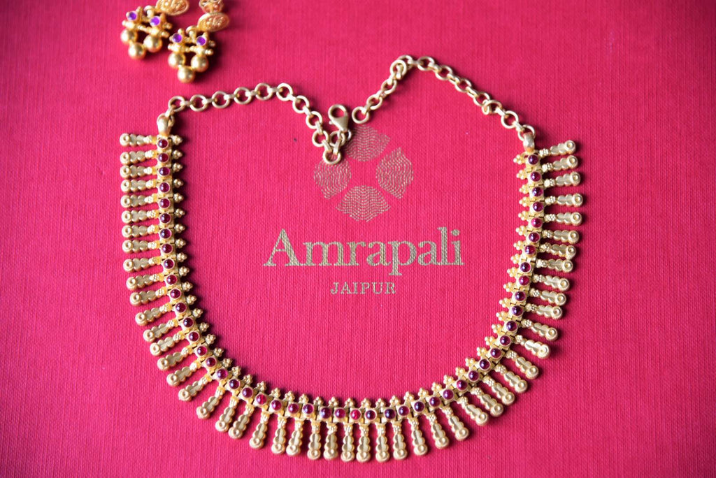 Shop silver gold plated Amrapali glass necklace set with earrings online in USA with floral tassels. Get festival ready with a range of exquisite handcrafted Indian silver gold plated jewelry, ethnic silver jewelry from Pure Elegance Indian clothing store in USA.-set