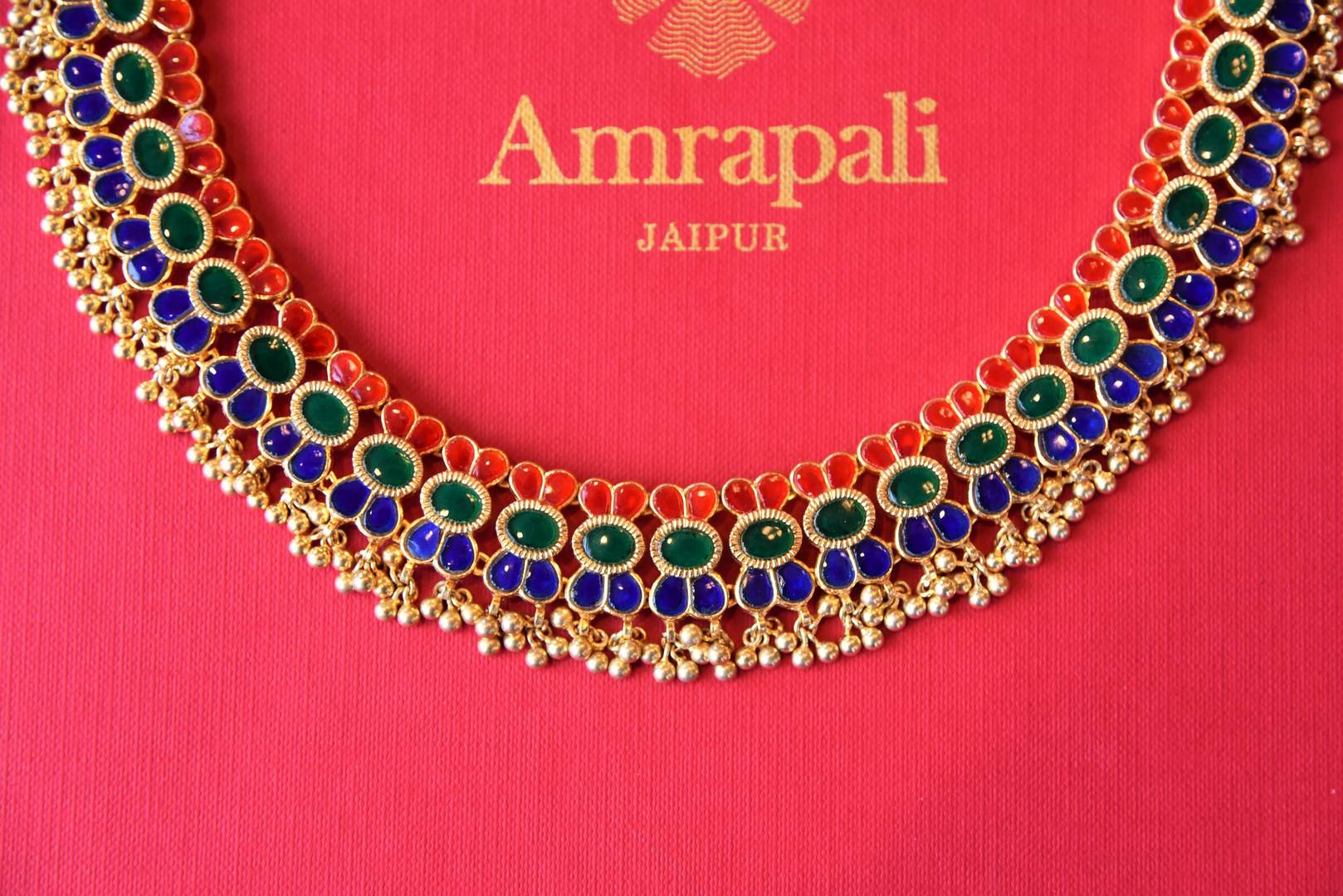 Shop Amrapali silver gold-plated multicolored glass necklace set online in USA from Pure Elegance. Complete your traditional look with an exclusive collection of Indian traditional jewelry, silver gold plated necklaces, wedding jewelry available at our exclusive Indian fashion store in USA and also on our online store. Shop now.-necklace