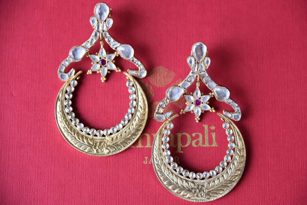 Shop silver gold plated Amrapali glass chandbali textured earrings online in USA. Get festival ready with a range of exquisite handcrafted Indian silver gold plated jewelry, ethnic silver jewelry from Pure Elegance Indian clothing store in USA.-flatlay