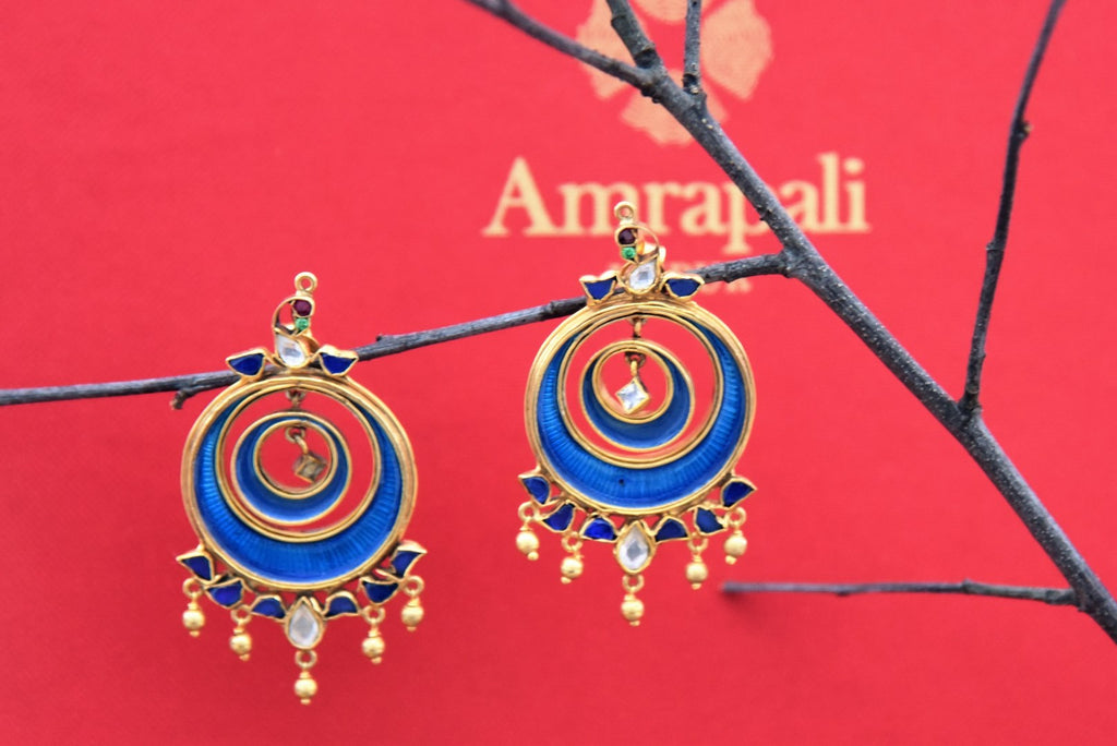 Shop silver gold plated blue enamel round earrings online in USA. Find an exquisite collection of handcrafted Indian jewelry in USA at Pure Elegance Indian fashion store. Complete your festive look with beautiful silver gold plated necklaces, silver gold plated earrings, silver jewelry from our online store.-front