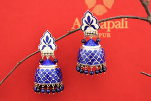 Shop blue enamel silver jhumki online in USA with hanging blue beads. Find an exquisite collection of handcrafted Indian jewelry in USA at Pure Elegance Indian fashion store. Complete your festive look with beautiful silver gold plated necklaces, silver earrings, silver jewelry from our online store.-front
