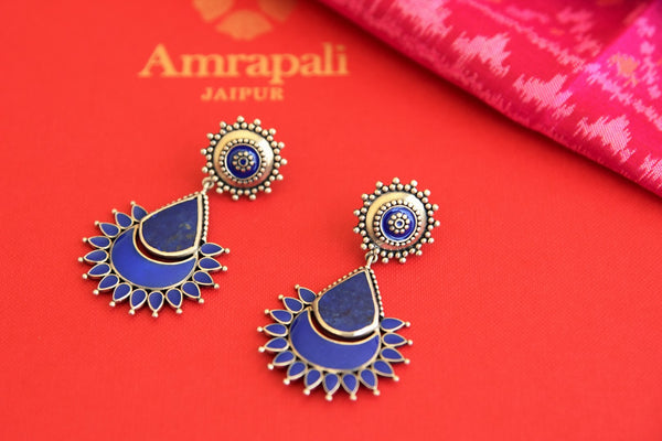 Shop Amrapali blue enamel silver earrings online in USA. Find an exquisite collection of handcrafted Indian jewelry in USA at Pure Elegance Indian fashion store. Complete your festive look with beautiful silver gold plated necklaces, silver gold plated earrings, silver gold plated jewelry from our online store.-flatlay