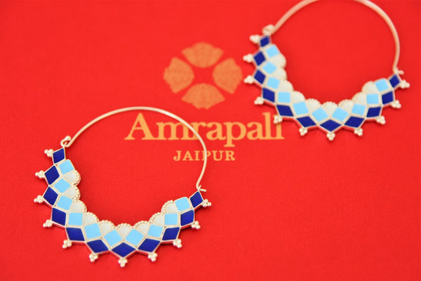 Buy Amrapali blue enamel silver hoop earrings online in USA. Find an exquisite collection of handcrafted Indian jewelry in USA at Pure Elegance Indian fashion store. Complete your festive look with beautiful silver gold plated necklaces, silver gold plated earrings, silver jewelry from our online store.-flatlay