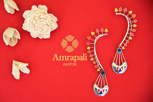 Buy Amrapali colorful enamel silver earrings with ear cuff online in USA. Find an exquisite collection of handcrafted Indian jewelry in USA at Pure Elegance Indian fashion store. Complete your festive look with beautiful silver gold plated necklaces, silver gold plated earrings, silver jewelry from our online store.-front