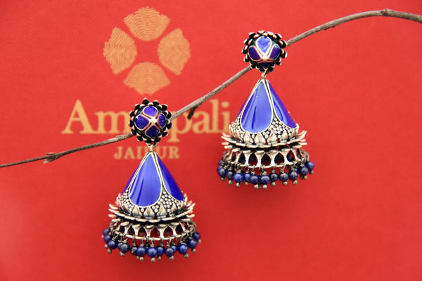 Buy Amrapali silver jhumki online in USA with blue enamel and hanging blue beads. Find an exquisite collection of handcrafted Indian jewelry in USA at Pure Elegance Indian fashion store. Complete your festive look with beautiful silver gold plated necklaces, silver gold plated earrings, silver jewelry from our online store.-front