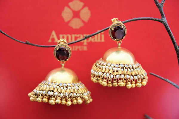Buy Amrapali silver gold plated heavy jhumka earrings online in USA with maroon stone. Find an exquisite collection of handcrafted Indian jewelry in USA at Pure Elegance Indian fashion store. Complete your festive look with beautiful silver gold plated necklaces, silver gold plated earrings, silver jewelry from our online store.-front