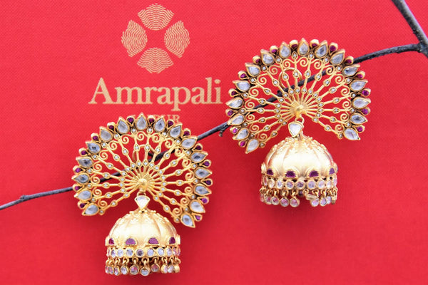 Shop Amrapali silver gold plated open peacock feather design jhumka earrings online in USA. Find an exquisite collection of handcrafted Indian jewelry in USA at Pure Elegance Indian fashion store. Complete your festive look with beautiful silver gold plated necklaces, silver gold plated earrings, silver jewelry from our online store.-front