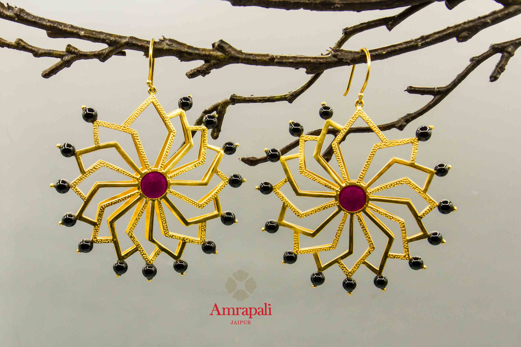 Shop Amrapali silver gold plated flower earrings online in USA with black beads. Raise your traditional fashion quotient on special occasions with exquisite Indian jewelry from Pure Elegance Indian clothing store in USA. Enhance your look with silver gold plated jewelry, fashion jewelry available online.-front