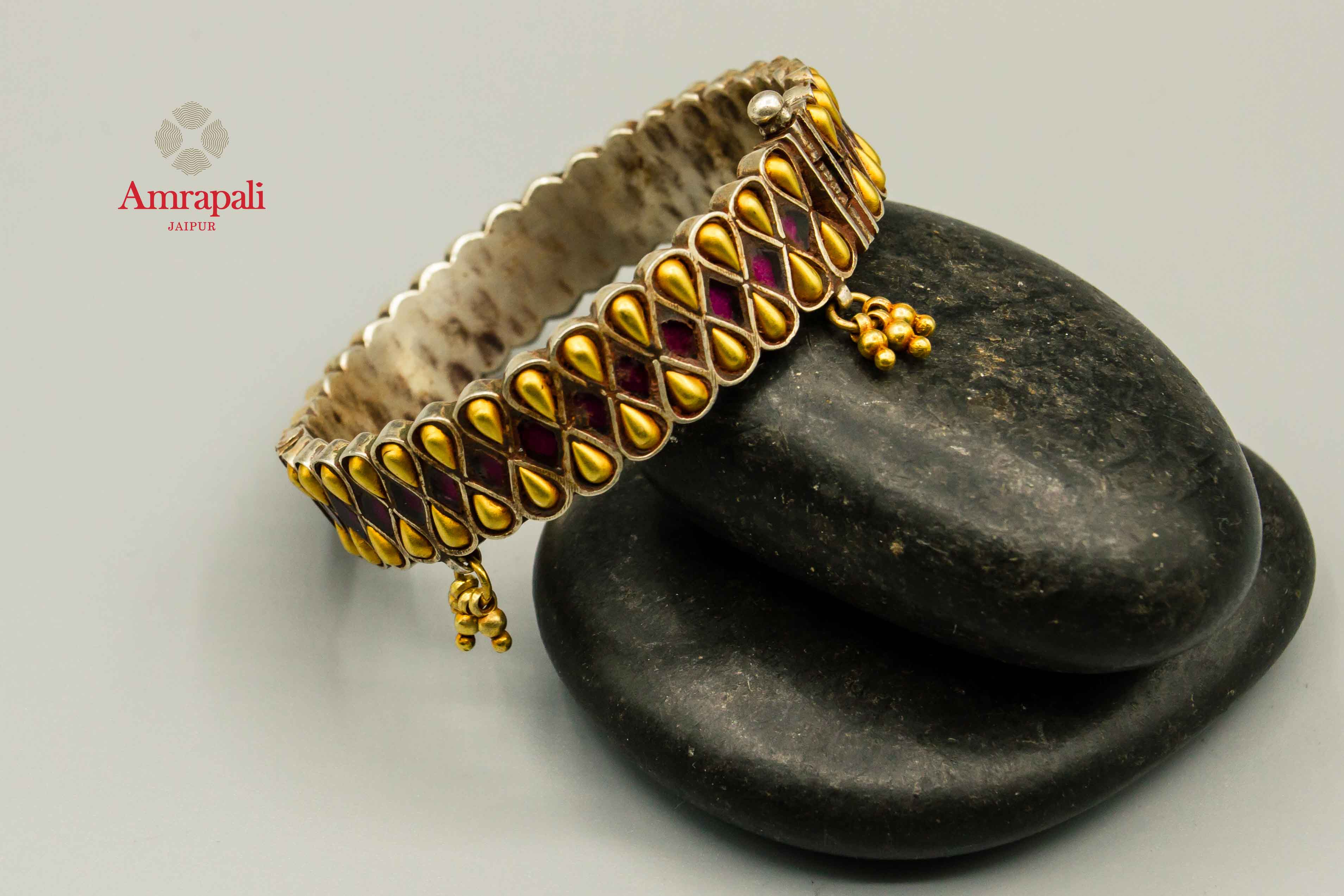 20C115 Silver Gold Plated Drop Design Bangle