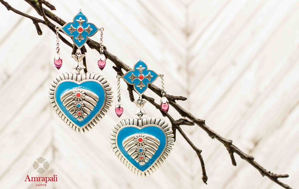 Buy Amrapali blue enamel heart shape silver earrings online in USA. Complete your ethnic look with traditional Indian silver gold plated jewelry from Pure Elegance Indian fashion store in USA. Shop gold plated necklaces, wedding jewelry for Indian brides in USA from our online store.-front
