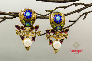 Buy enamel and glass silver gold plated earrings online in USA. Enhance your ethnic style with exquisite Indian jewelry from Pure Elegance Indian fashion store in USA. Pick from a range of stunning silver gold plated earrings, silver gold plated necklaces, silver jewelry for a perfect finishing to your ethnic look.-front