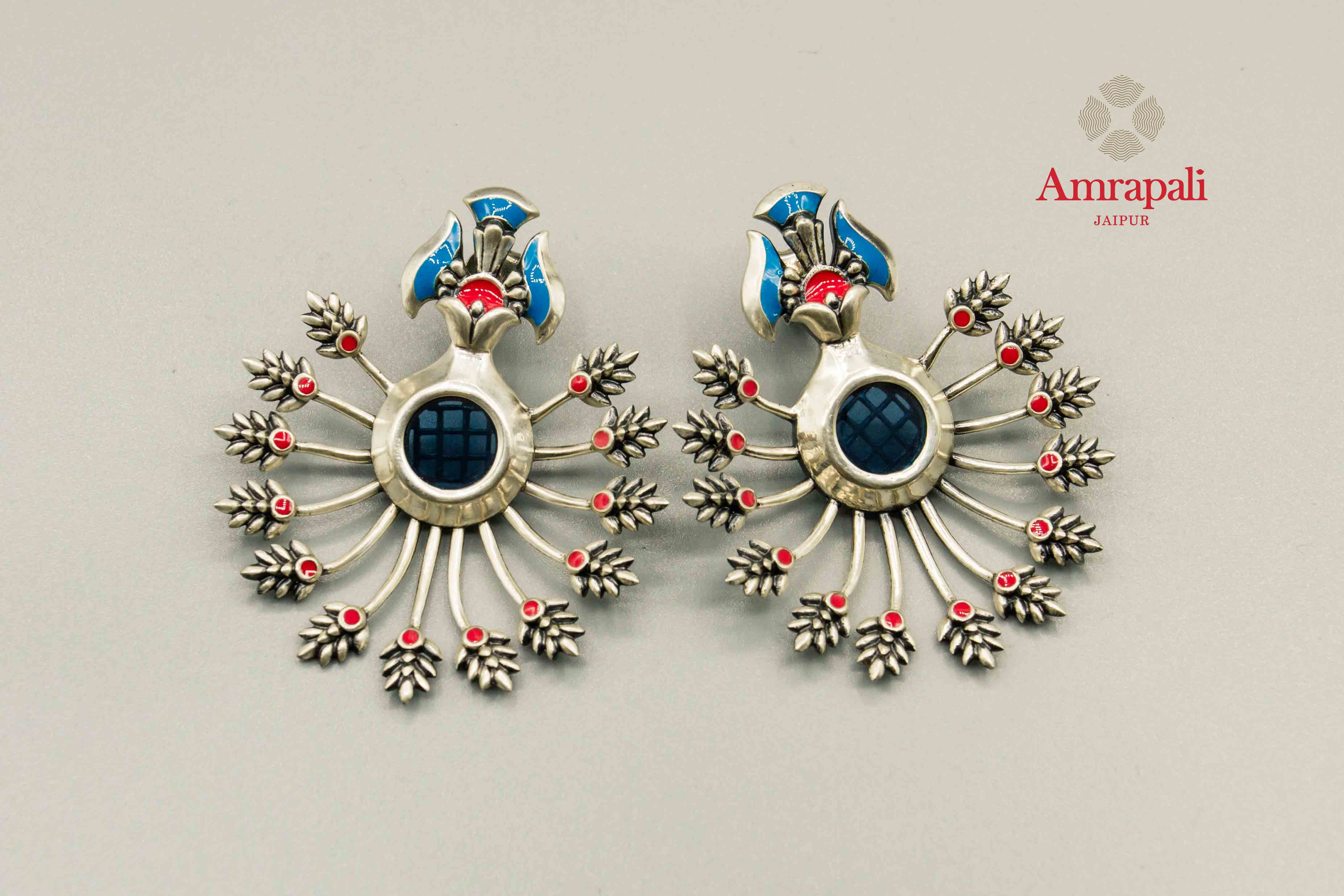 20C152 Silver Enamel Floral Stud Earrings