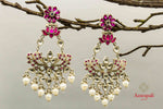 Shop Amrapali pink glass silver earrings online in USA with pearl drops. Raise your traditional fashion quotient on special occasions with exquisite Indian jewelry from Pure Elegance Indian clothing store in USA. Enhance your look with silver gold plated jewelry, silver jewelry available online.-front