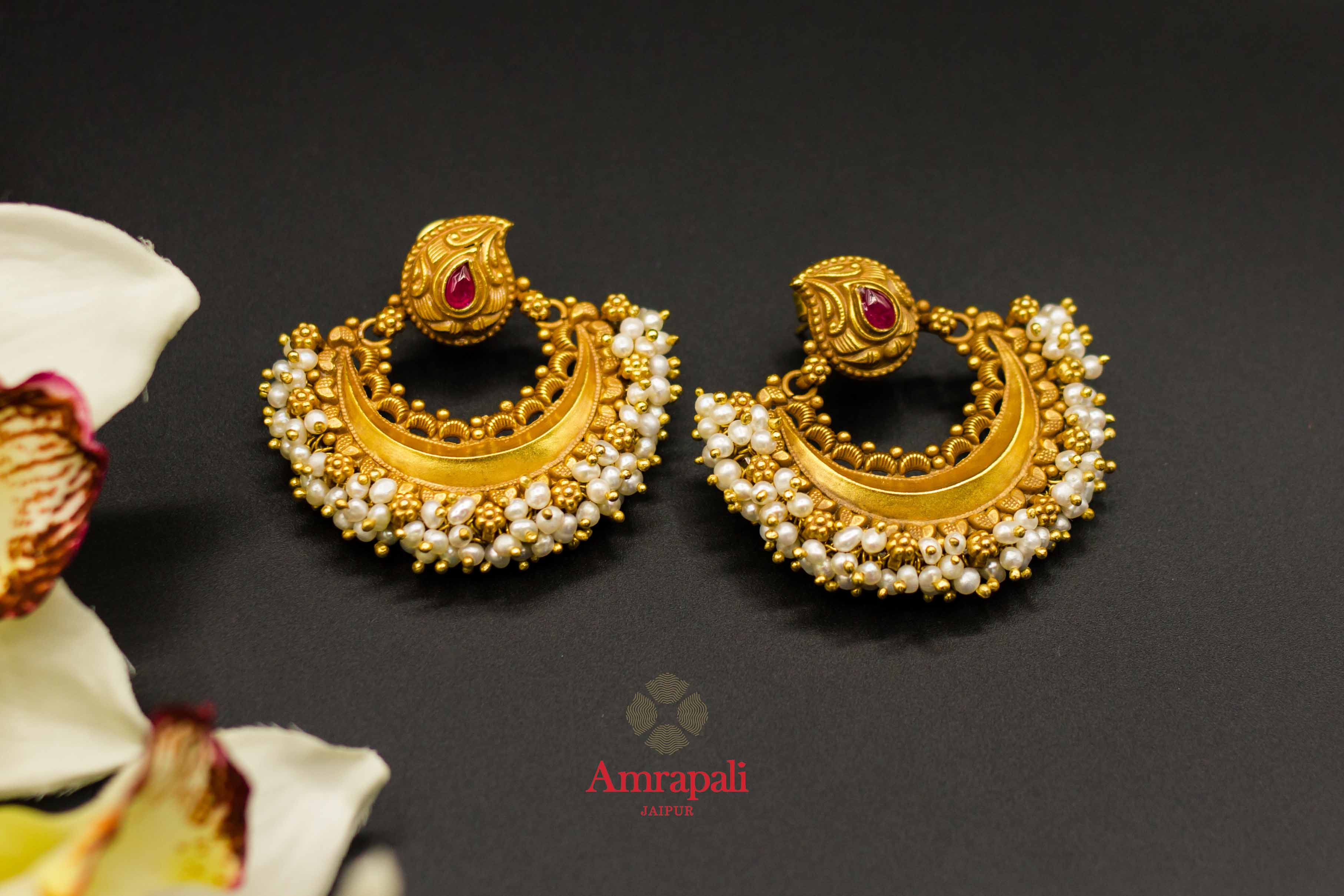 Buy Online Silver Gold Plated Chandbali Earrings With Pearls Cluster