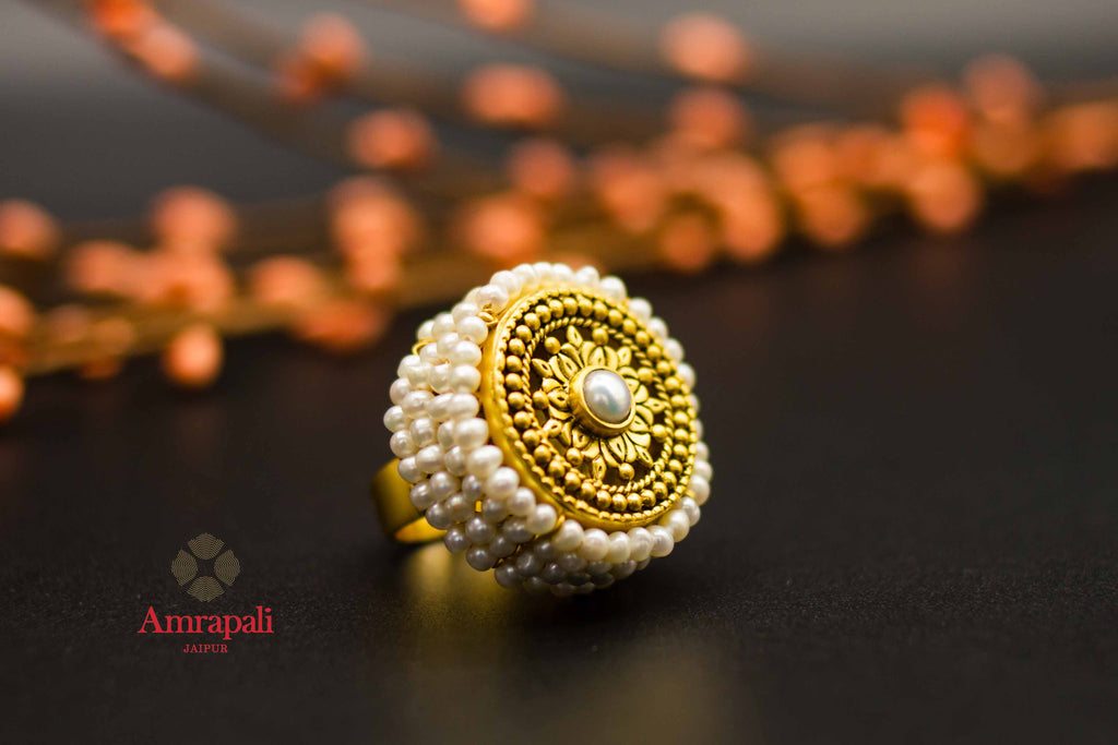 Shop Amrapali silver gold plated heavy pearl ring online in USA. Raise your ethnic style quotient on special occasions with exquisite Indian jewelry from Pure Elegance Indian clothing store in USA. Enhance your Indian look with silver gold plated jewelry, necklaces, silver jewelry available online.-side