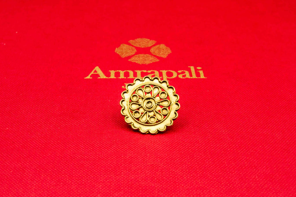 Shop Amrapali silver gold plated floral ring online in USA. Raise your traditional fashion quotient on special occasions with exquisite Indian jewelry from Pure Elegance Indian clothing store in USA. Enhance your look with silver gold plated jewelry, silver jewellery available online.-flatlay