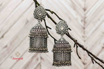 Buy Amrapali heavy silver jhumki earrings online in USA with tassels. Complete your ethnic look with traditional Indian silver gold plated jewelry from Pure Elegance Indian fashion store in USA. Shop silver jewelry, wedding jewelry for Indian brides in USA from our online store.-front