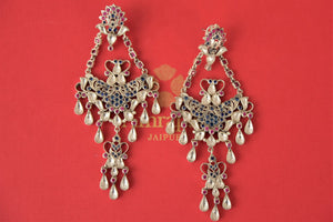Buy multicolor glass Amrapali silver chandelier earrings online in USA. Enhance your ethnic style with exquisite Indian jewelry from Pure Elegance Indian fashion store in USA. Pick from a range of stunning silver gold plated earrings, silver gold plated necklaces, silver jewelry for a perfect finishing...-front