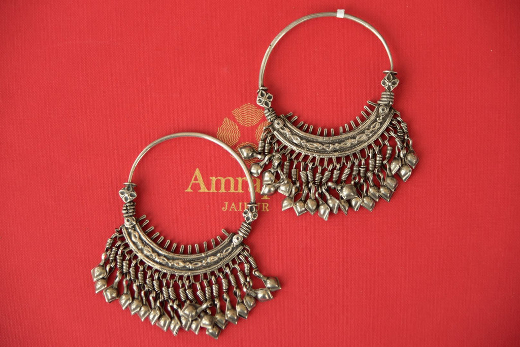 Shop Amrapali oxidized silver hoop earrings online in USA. Enhance your ethnic style with exquisite Indian jewelry from Pure Elegance Indian fashion store in USA. Pick from a range of stunning silver gold plated earrings, silver gold plated necklaces, silver jewelry for a perfect finishing.-front