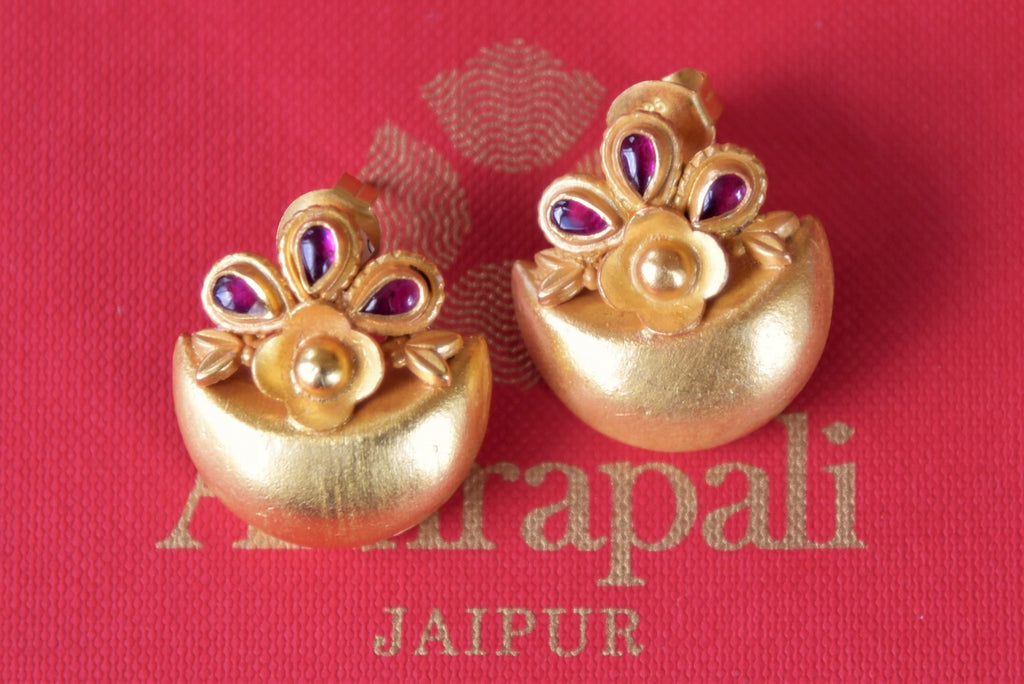 Buy Amrapali silver gold plated crescent shape stud earrings online in USA. Enhance your ethnic style with exquisite Indian jewelry from Pure Elegance Indian fashion store in USA. Pick from a range of stunning silver gold plated earrings, silver gold plated necklaces, silver jewelry for a perfect finishing to your.....-front